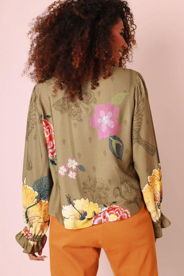 BLUSA ESTAMPADA FLORAL FILETE MILITAR