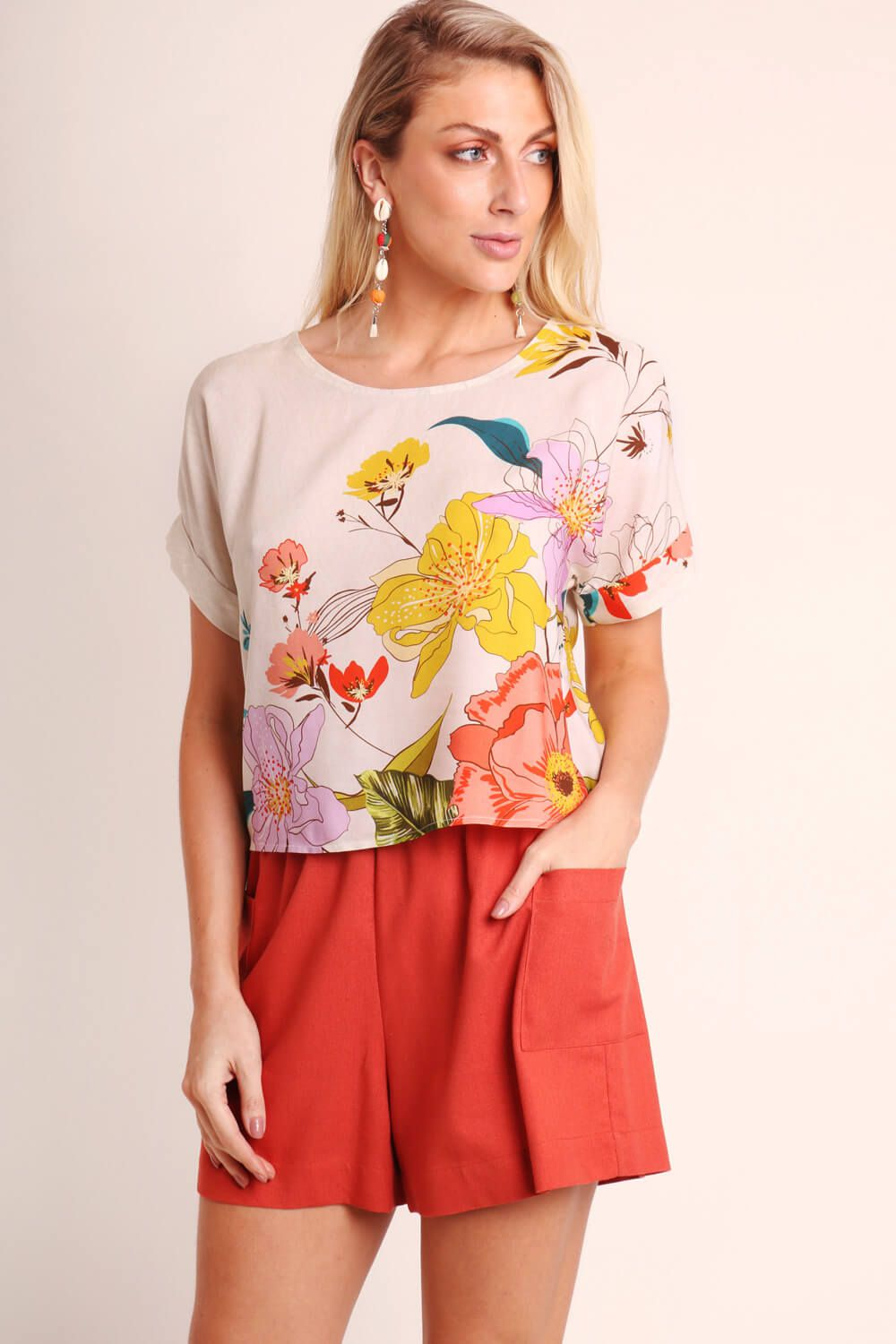 BLUSA ESTAMPADA PRIMAVERA OFF WHITE