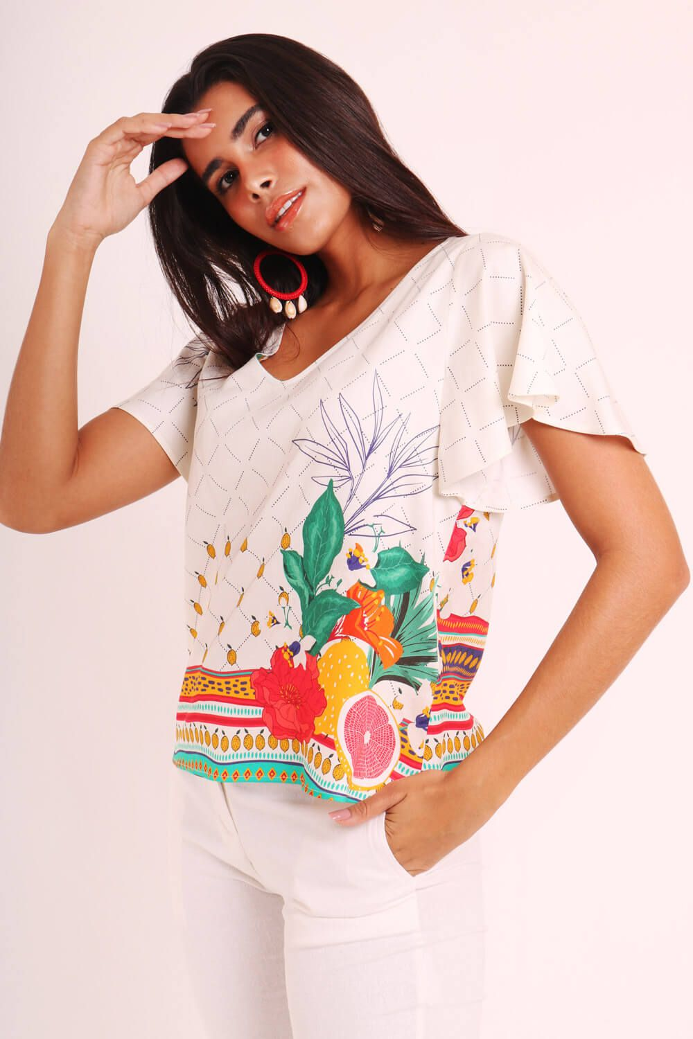 BLUSA ESTAMPADA QUITANDA OFF WHITE