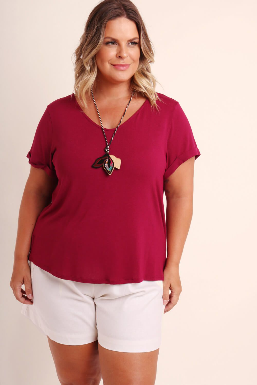 BLUSA KIT PLUS SIZE BORDÔ