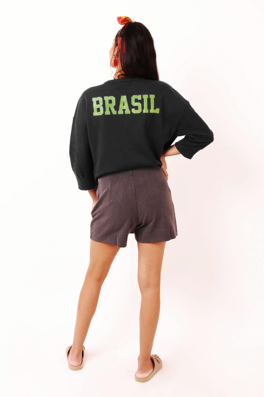 BLUSA MOLETOM BRASIL PRETA