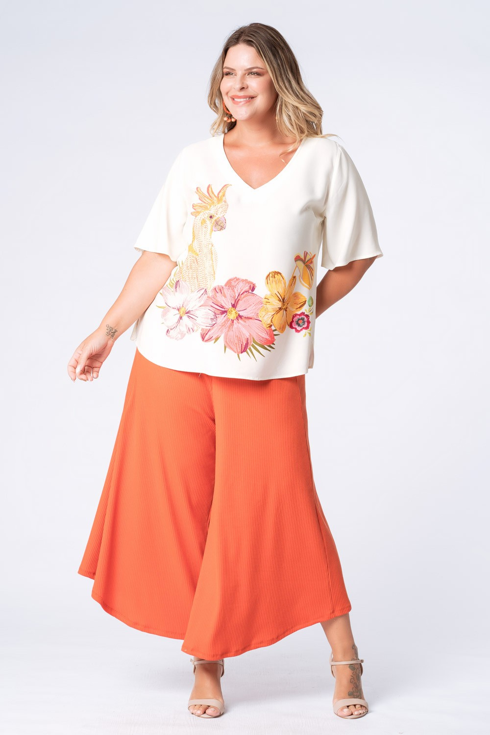 BLUSA ESTAMPADA PÁSSARO PLUS SIZE OFF WHITE