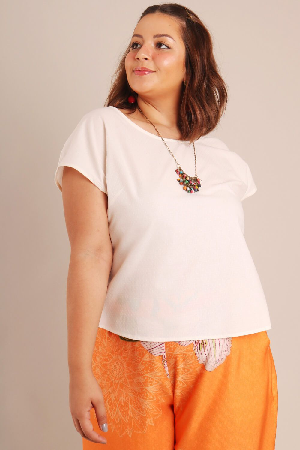 BLUSA PLUS SIZE LISA BRANCA