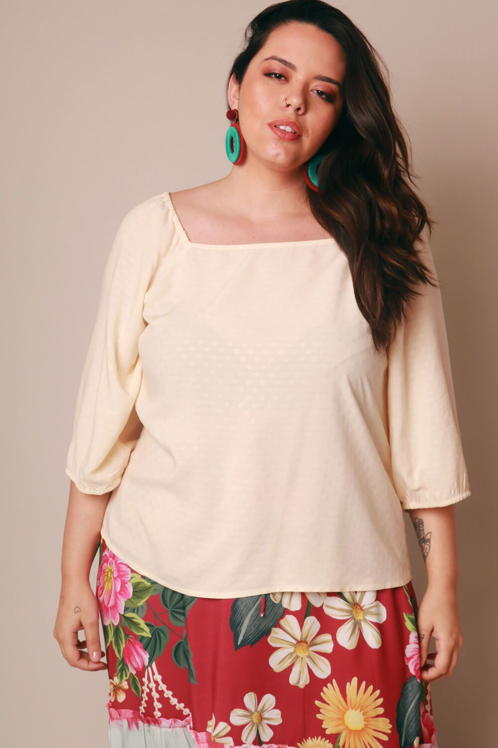 BLUSA PLUS SIZE LISA OFF WHITE