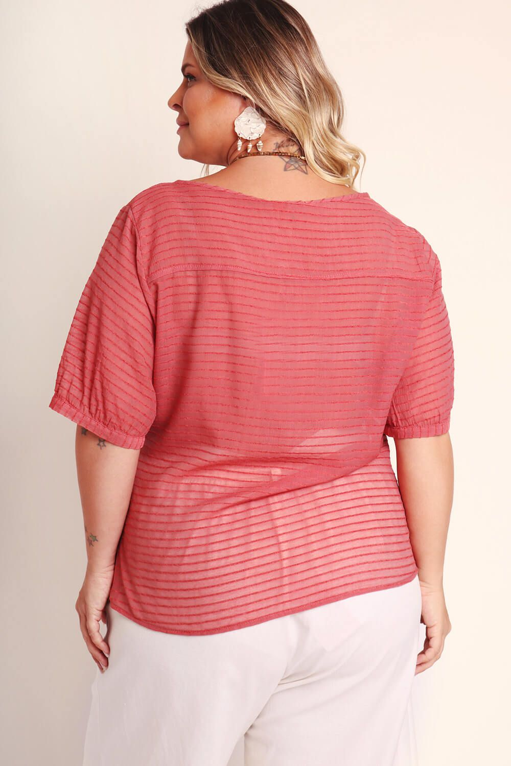 BLUSA PLUS SIZE LISA ROSA