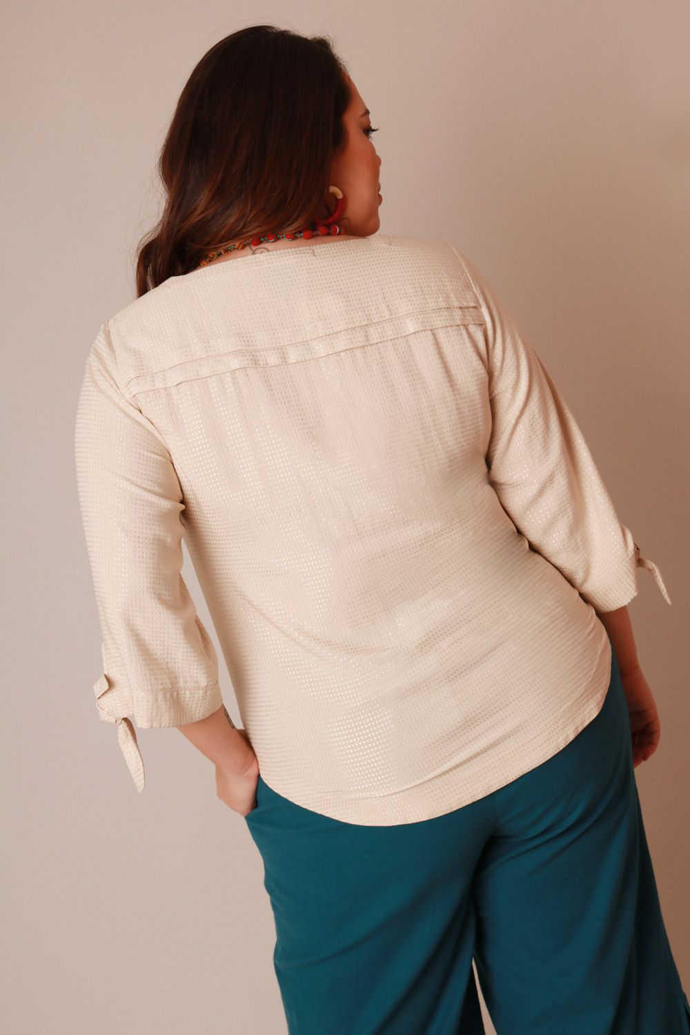 BLUSA PLUS SIZE OFF WHITE