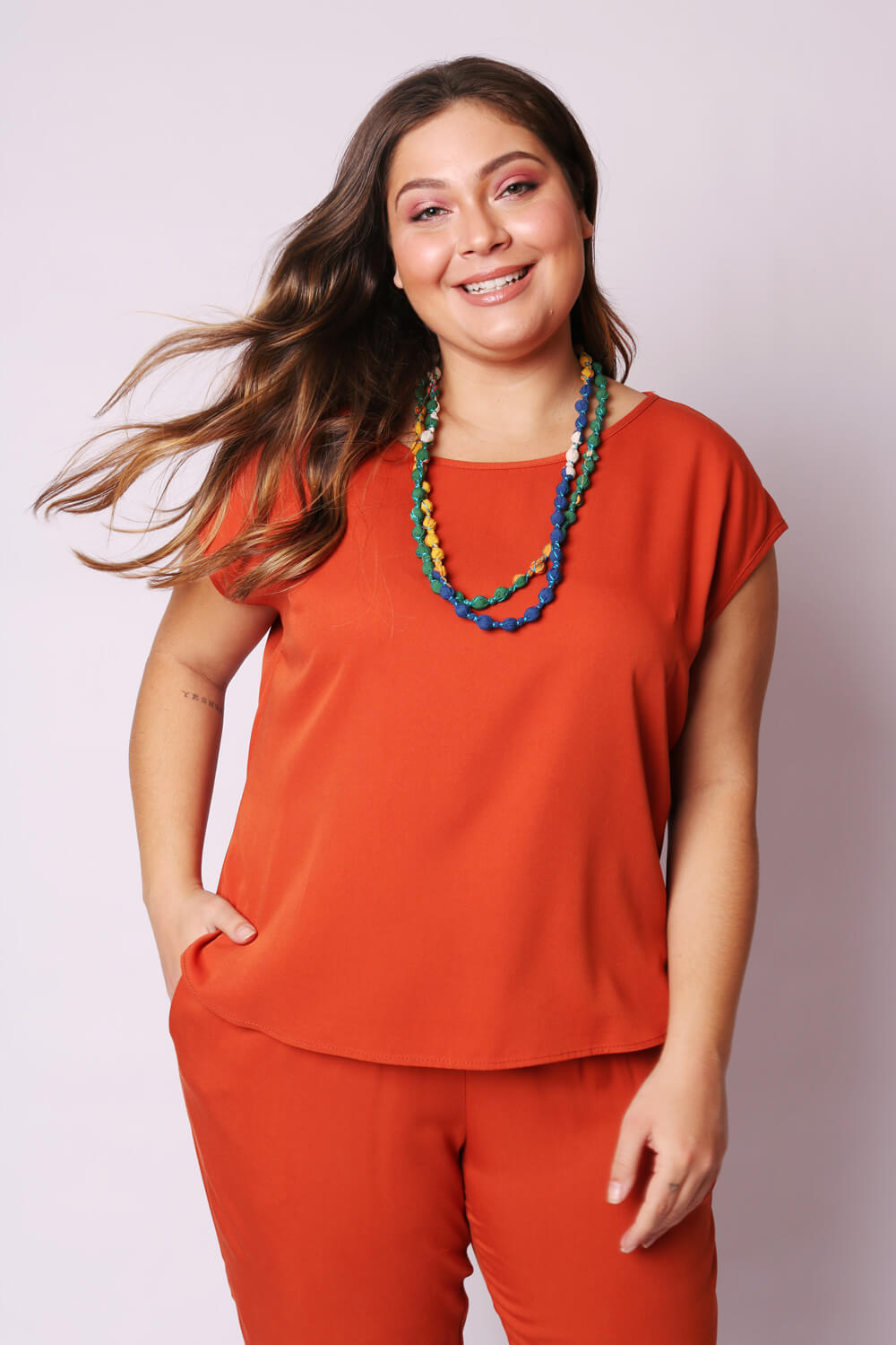 BLUSA PLUS SIZE TWILL TERRACOTA