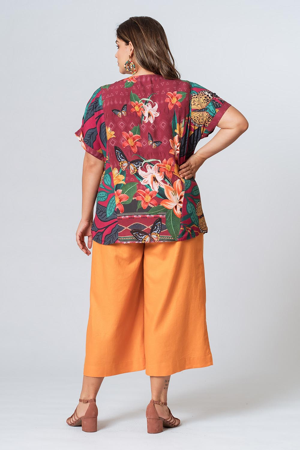 BLUSA RE-VIVA PLUS SIZE  BORDÔ