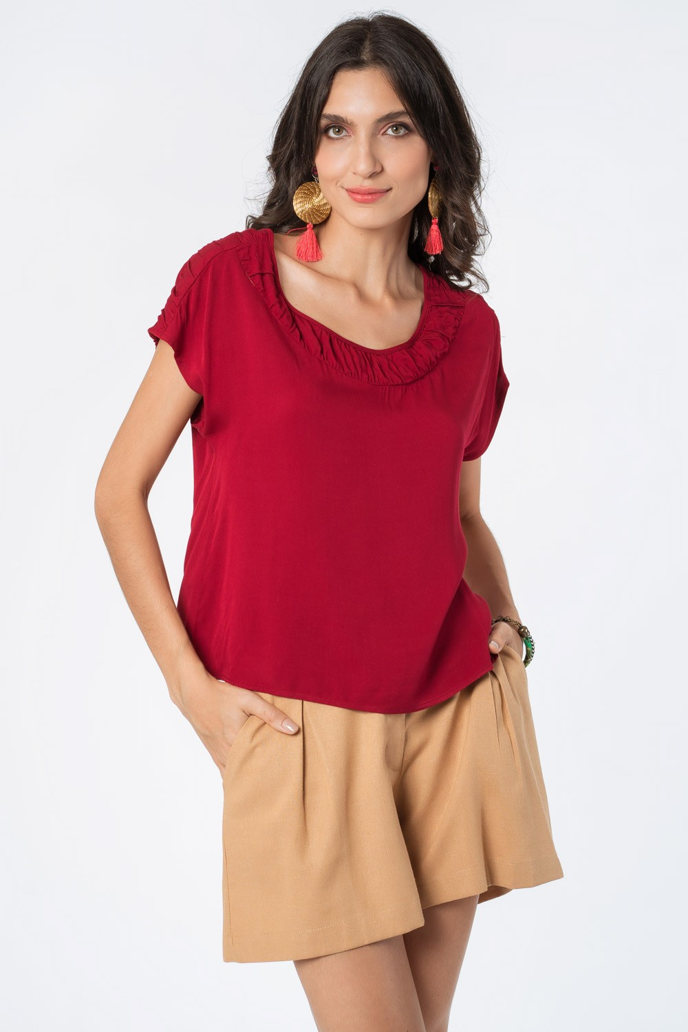 BLUSA LISA TWILL RAYON BORDÔ