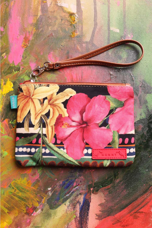 Bolsa de mão com Alça Estampada Floral Listrada preta