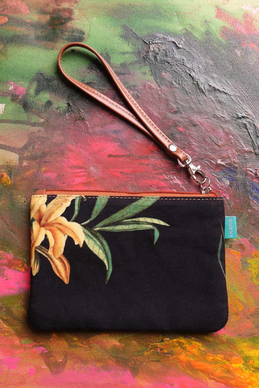 Bolsa de mão com Alça Estampada Floral preta