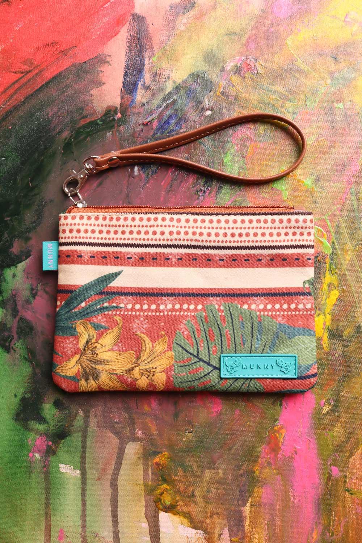 Bolsa de mão com Alça Estampada Selva Laranja Listrada