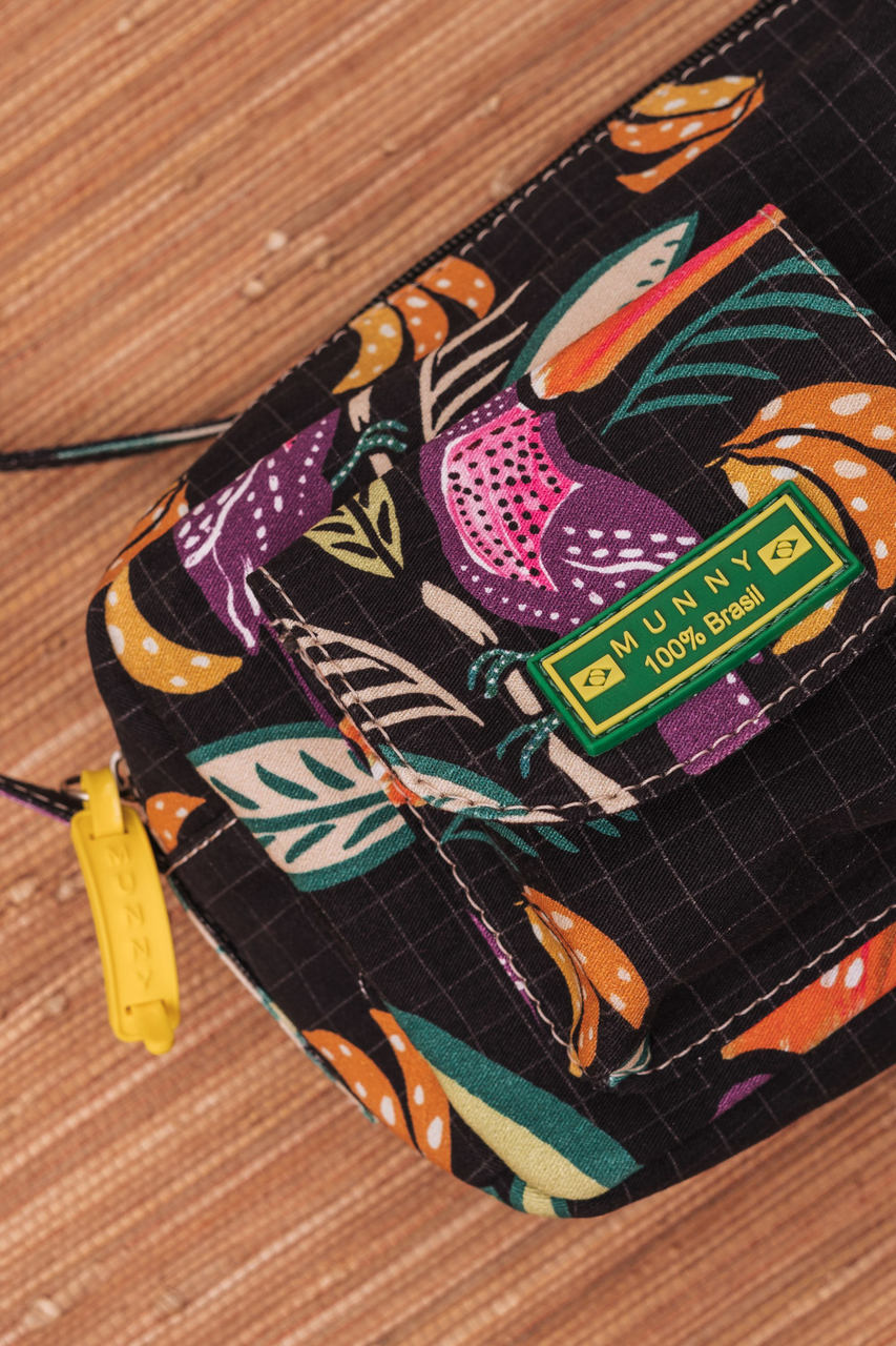 BOLSA TIRA COLO ESTAMPADA GRID TROPICAL PRETO