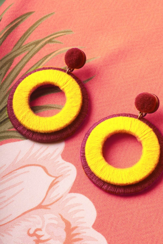 Brinco Argola de Fio Roxo e Amarelo