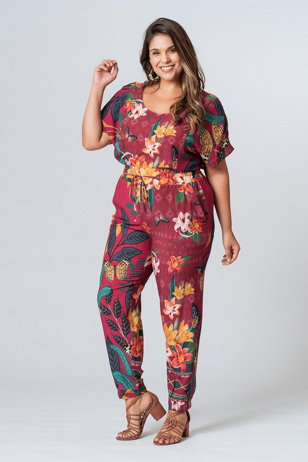 CALÇA RE-VIVA PLUS SIZE  BORDÔ