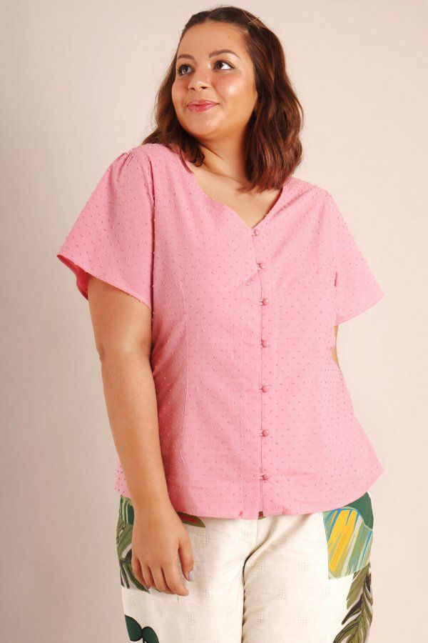 CAMISA PLUS SIZE LISA ROSA