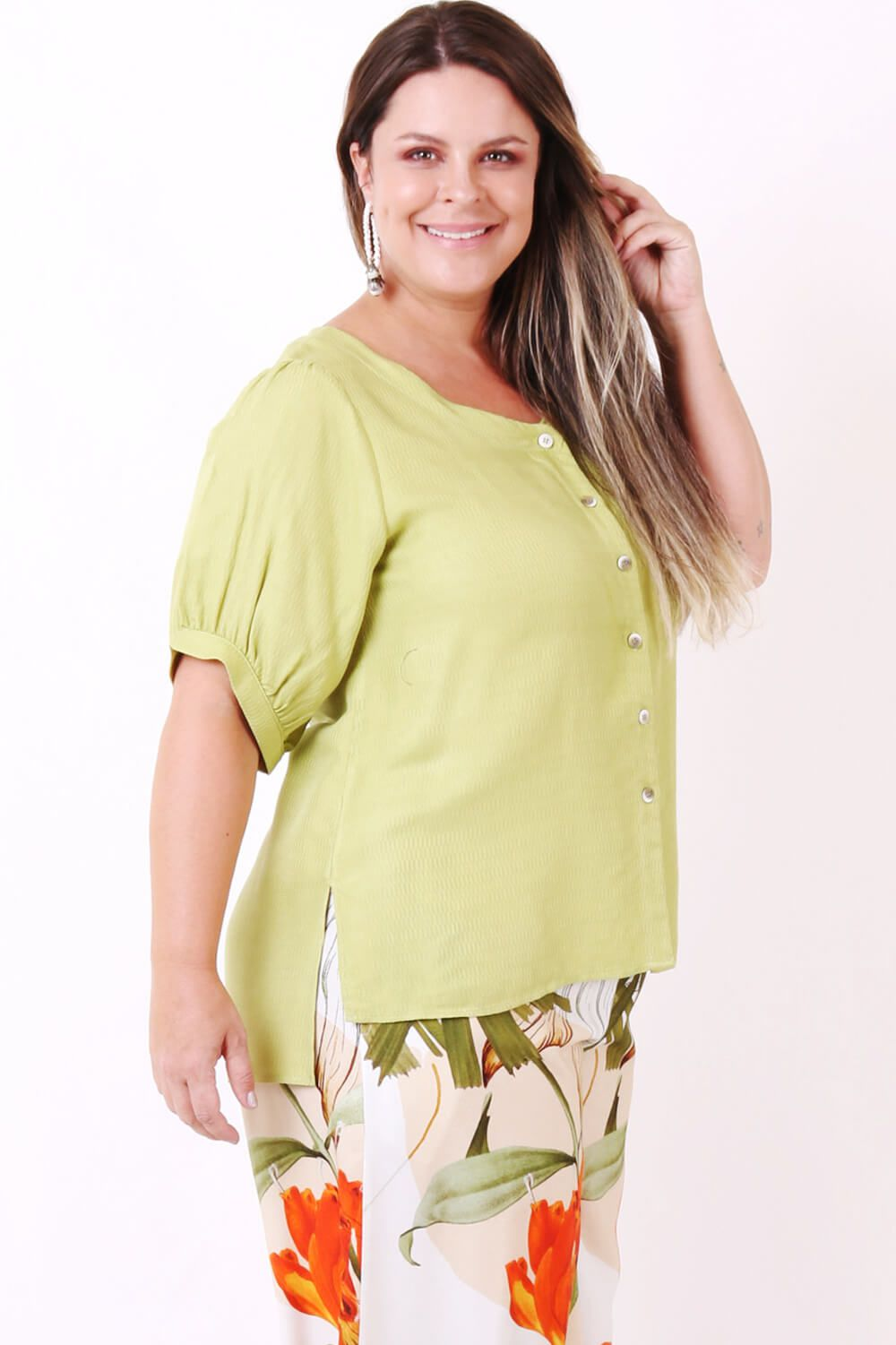 CAMISA PLUS SIZE LISA VERDE