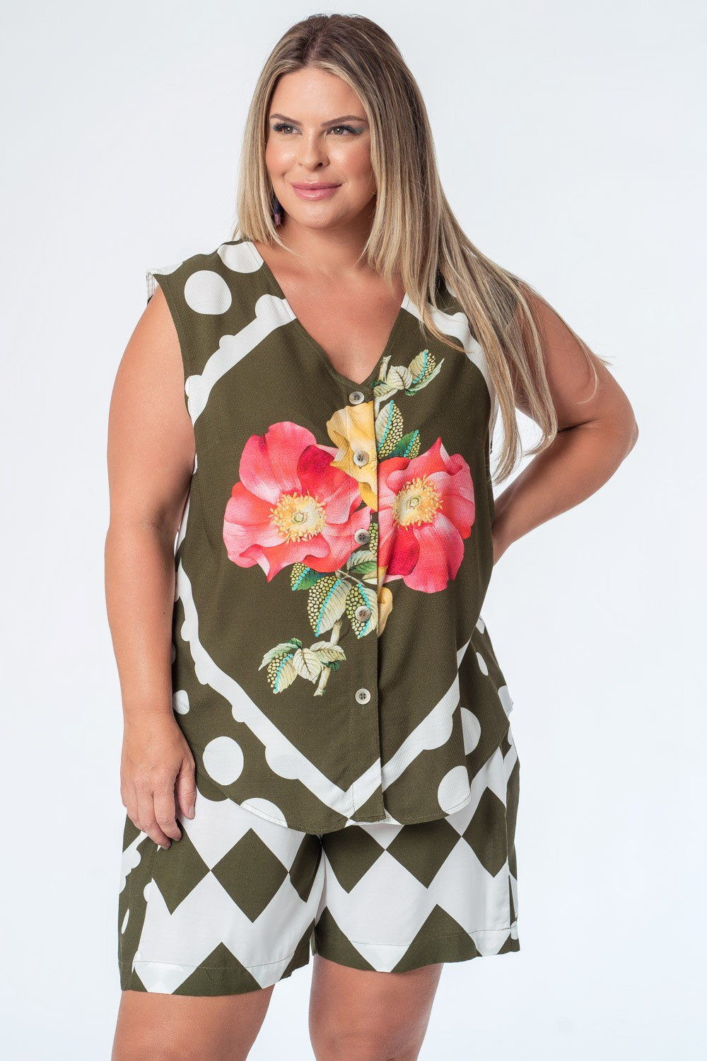 CAMISA TÚNICA ESTAMPADA MIX PLUS SIZE VERDE