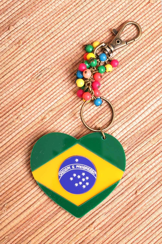 CHAVEIRO CORAÇÃO BRASIL ESTAMPADO VERDE