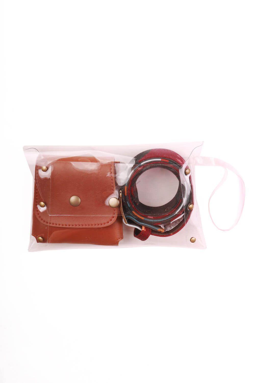 Kit Belt Bag Com Cinto Estampado Jardim Estrelado Bordô