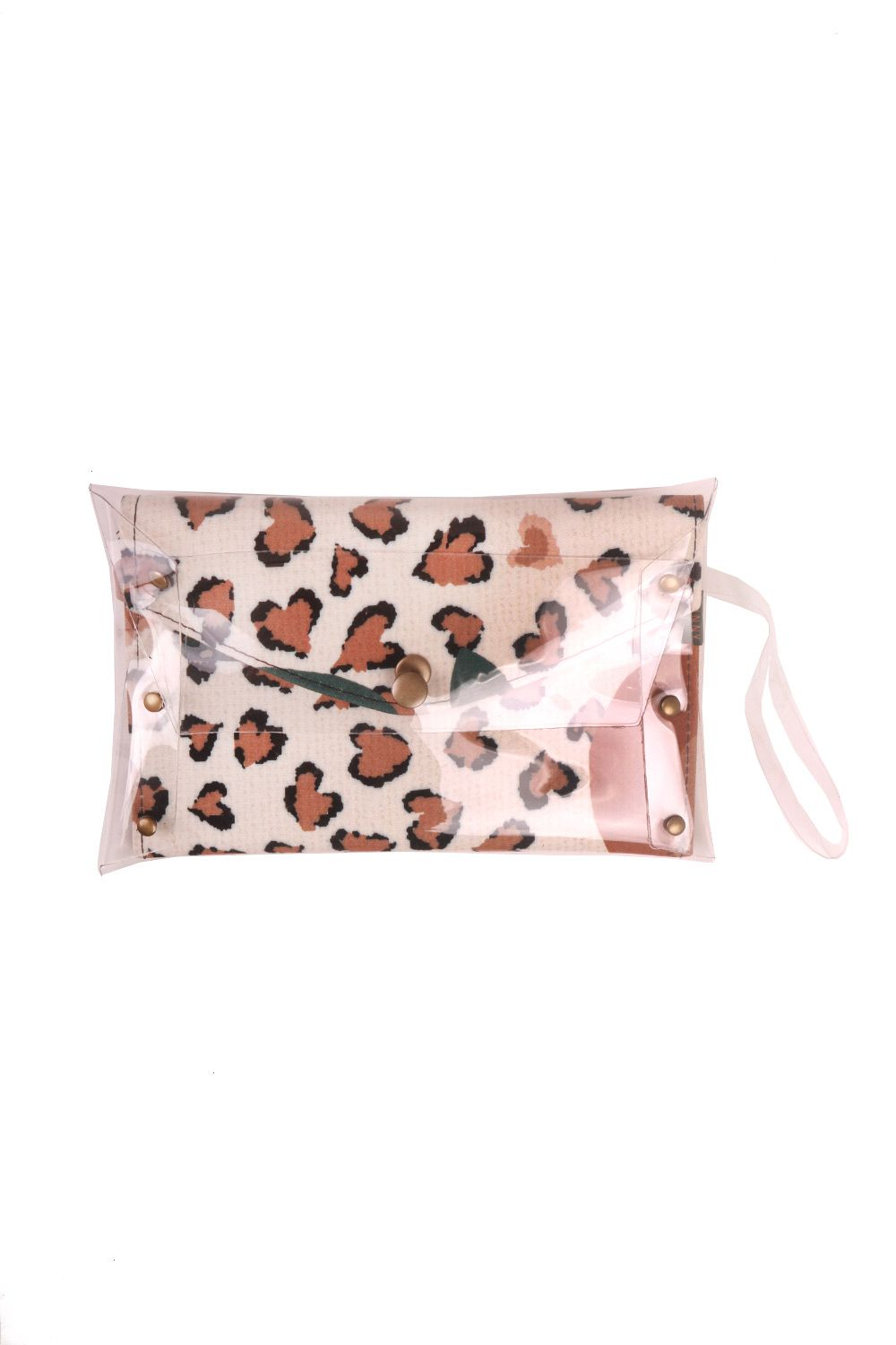 Kit Cinto Slim e Carteira Clutch Estampada Terracota