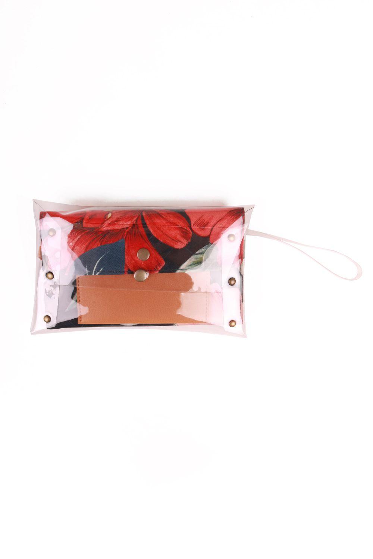 Kit Cinto Slim e Clutch Estampada Marinho e Vermelha