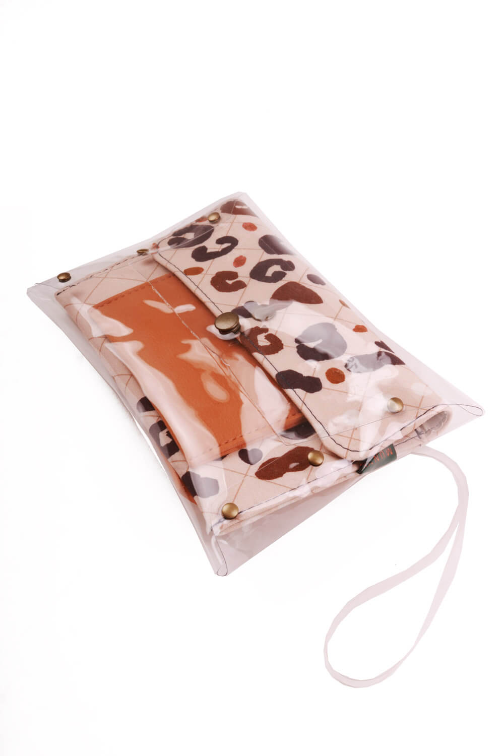 Kit Cinto Slim e Clutch Estampada Rosé
