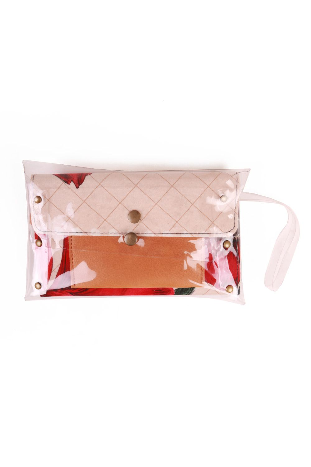 Kit Cinto Slim e Clutch Estampada Rosé e Vermelha