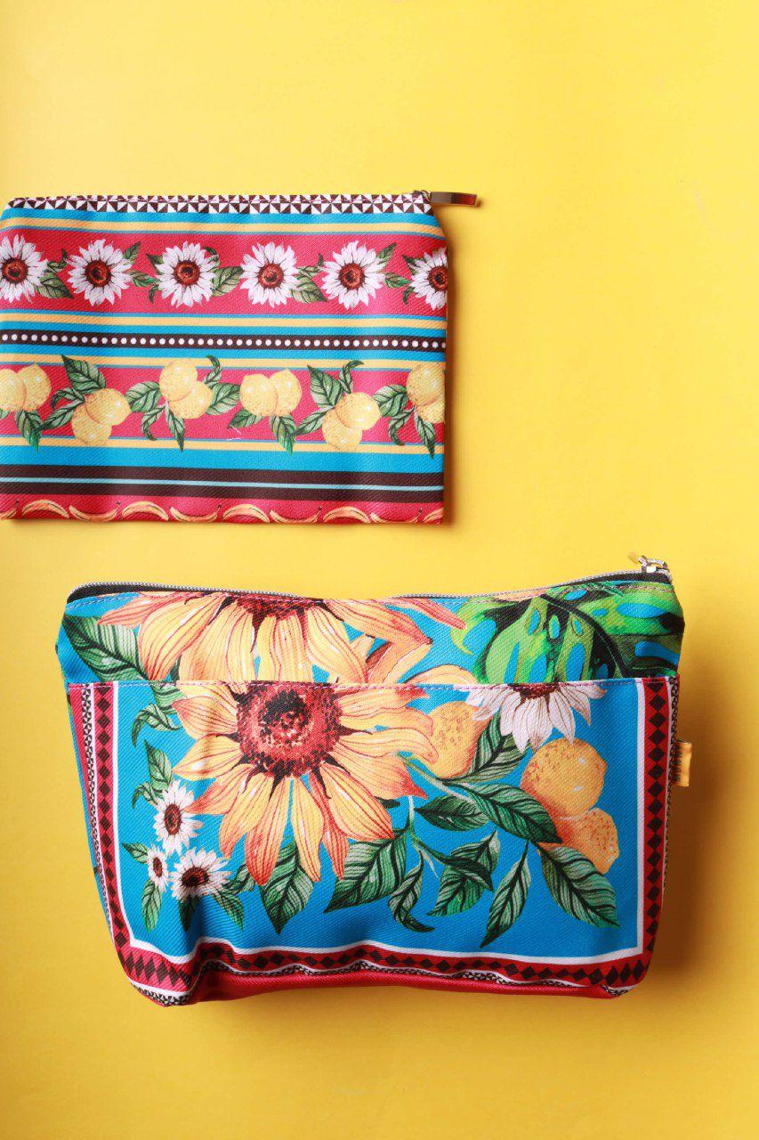 KIT Necessaire Estampada Jardim de Girassol Multicolorida