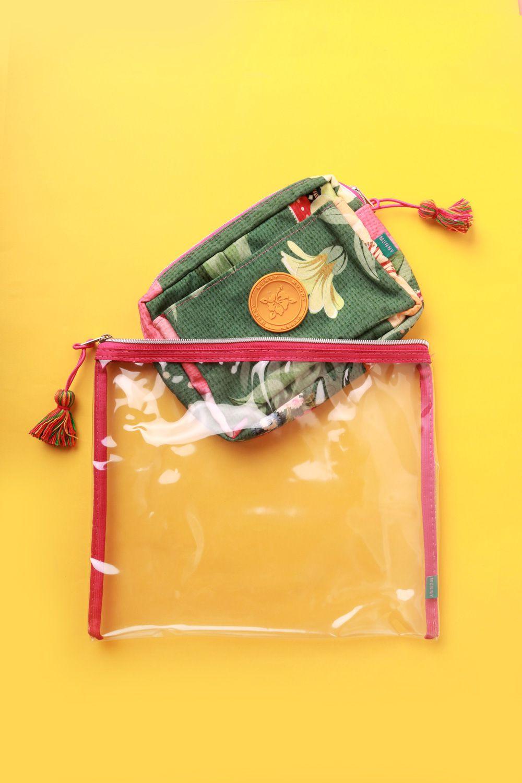 Kit Necessaire Estampada Perfume de Flores Verde