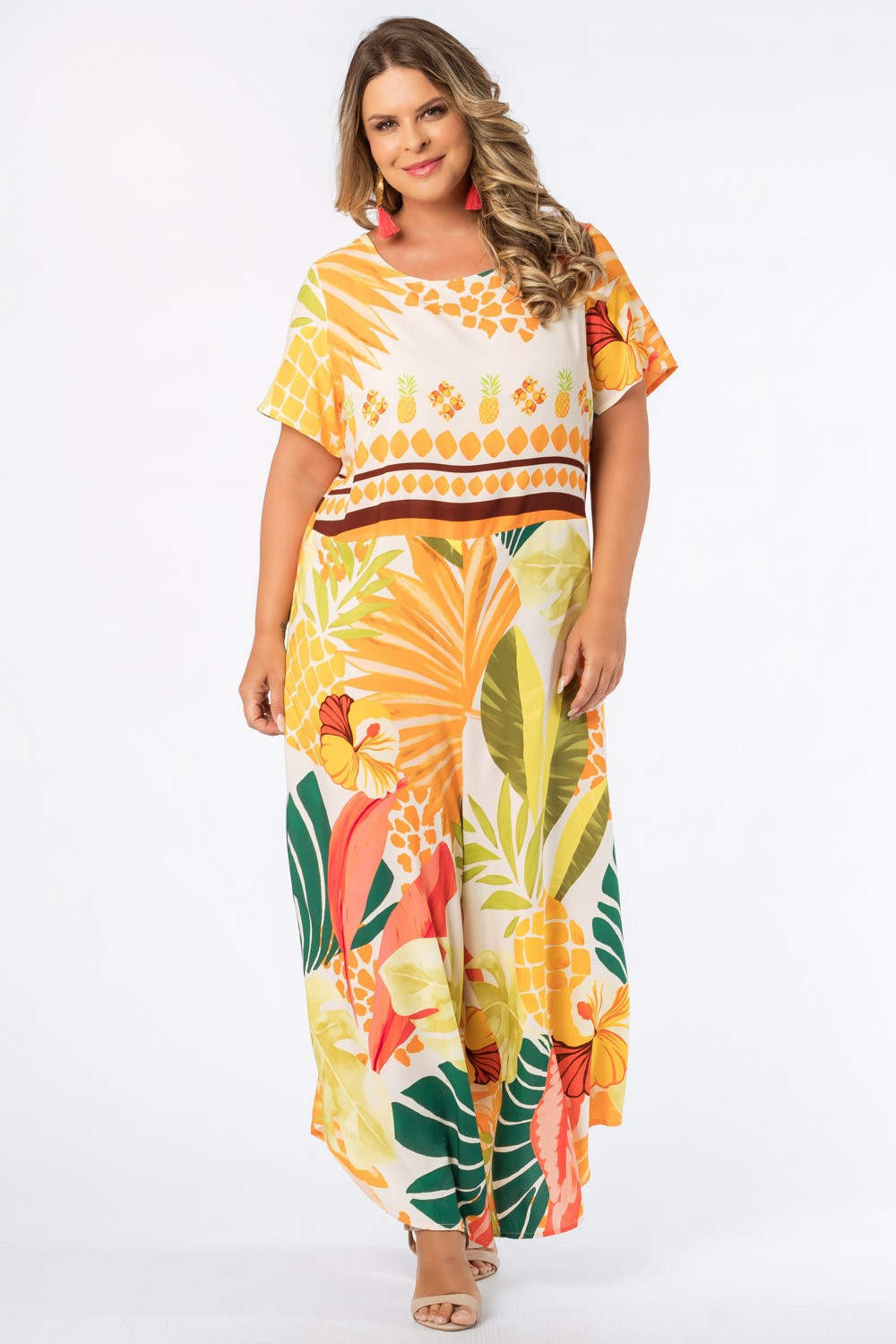 MACACÃO ESTAMPADO TROPICAXI PLUS SIZE OFF WHITE