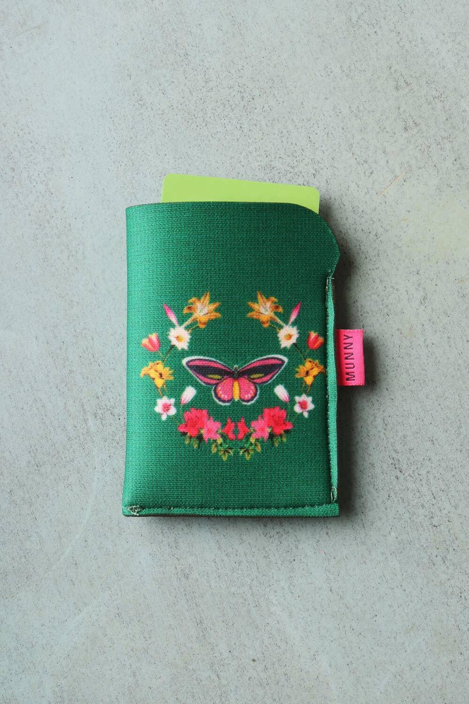 Porta Cartão Estampado Mandala Borboleta Verde