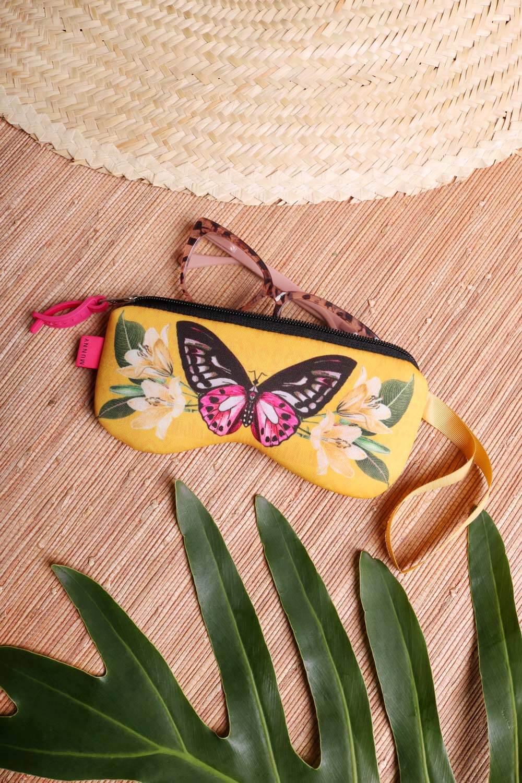 Porta Óculos Estampado Amarelo