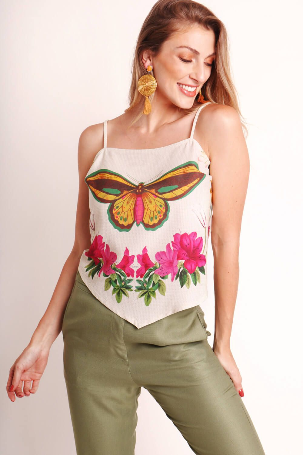 REGATA ESTAMPADA MANDALA BORBOLETA OFF WHITE