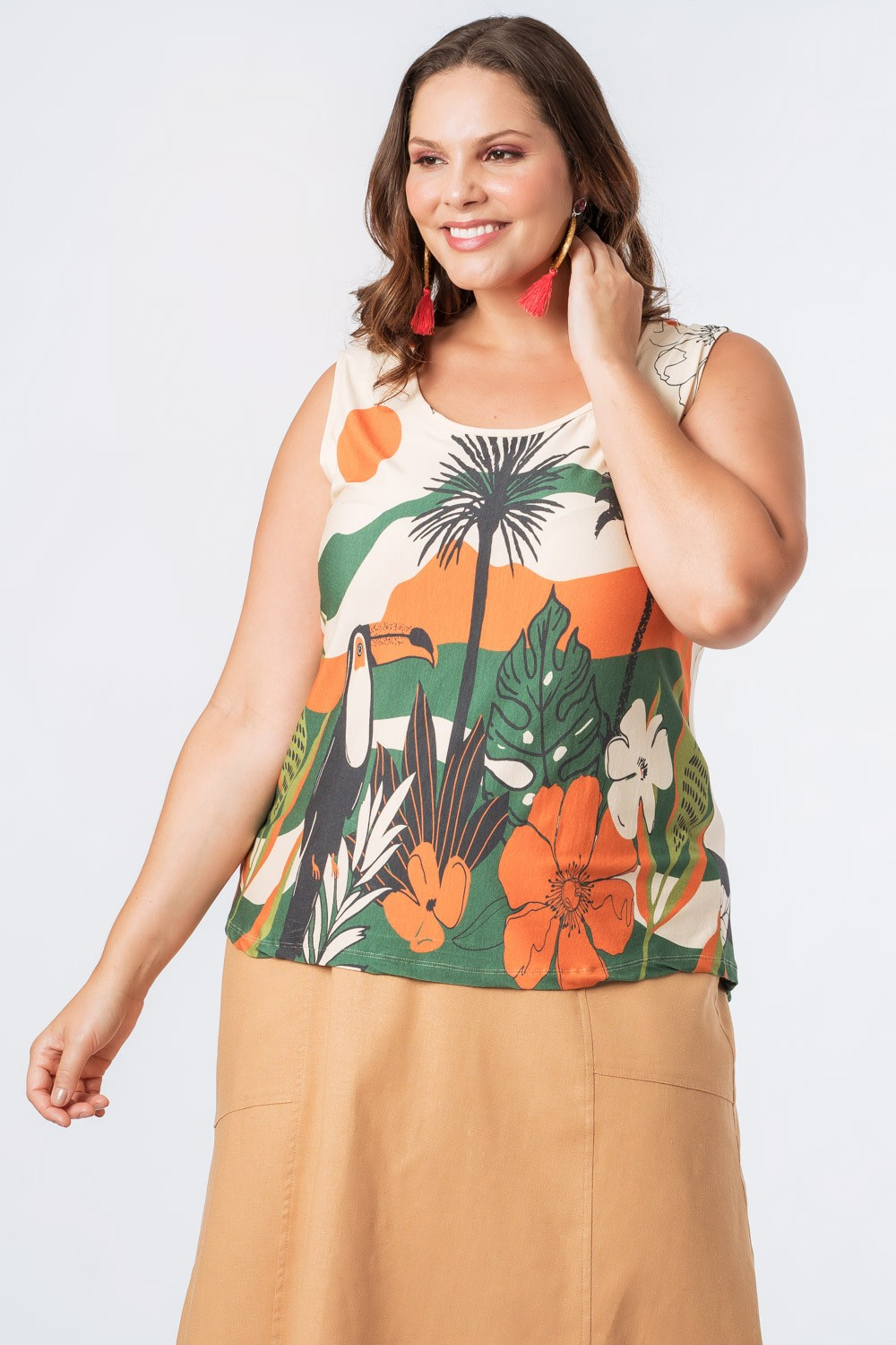 REGATA ESTAMPADA HORIZONTES PLUS SIZE OFF WHITE