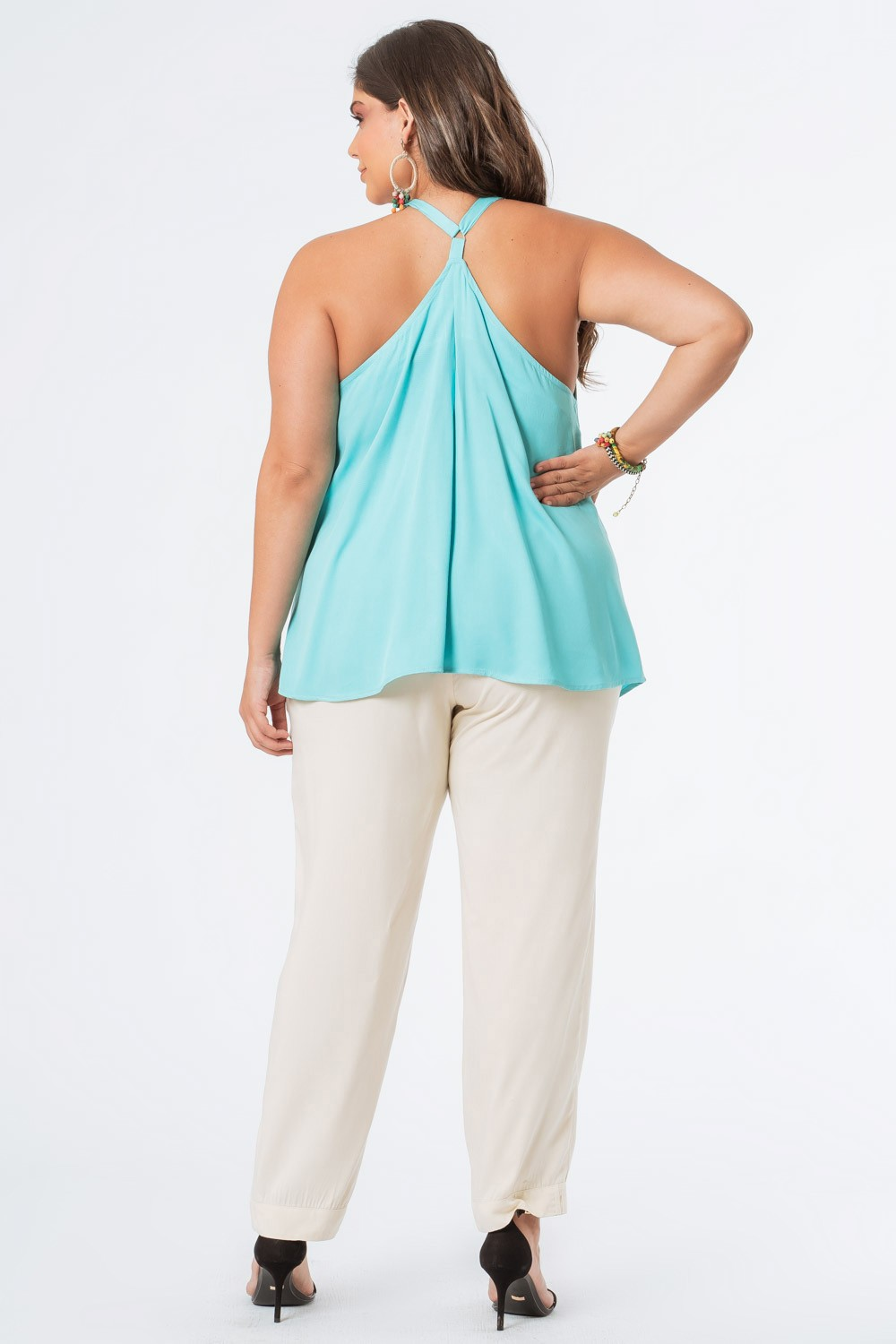 REGATA LISA PLUS SIZE ALÇA AVIAMENTO AZUL