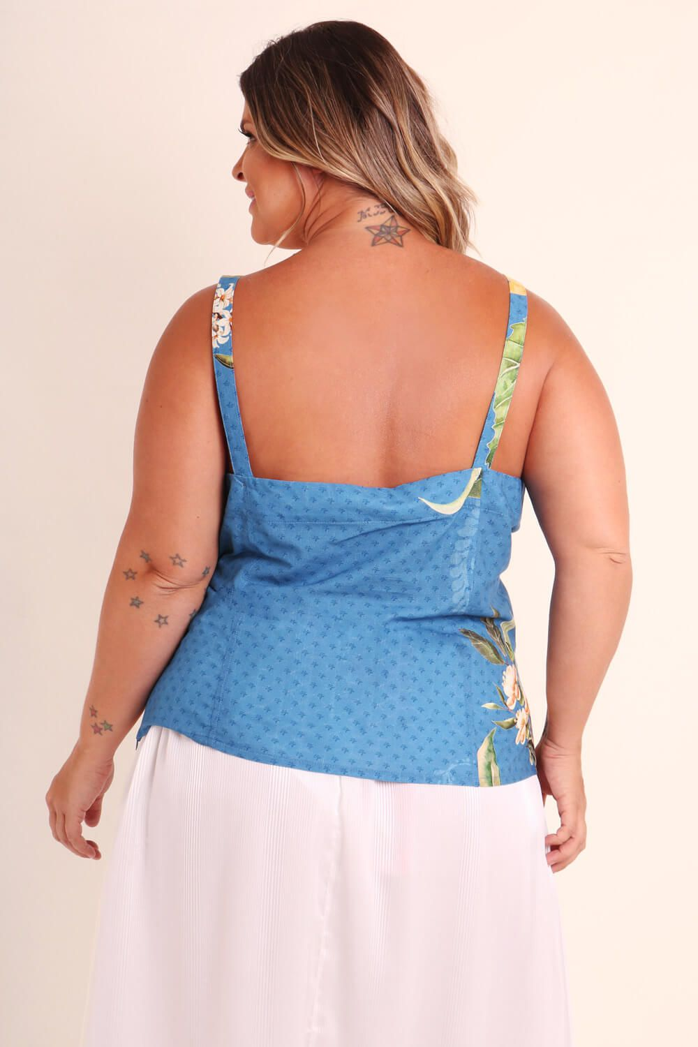REGATA PLUS SIZE ESTAMPADA GIRACASH AZUL