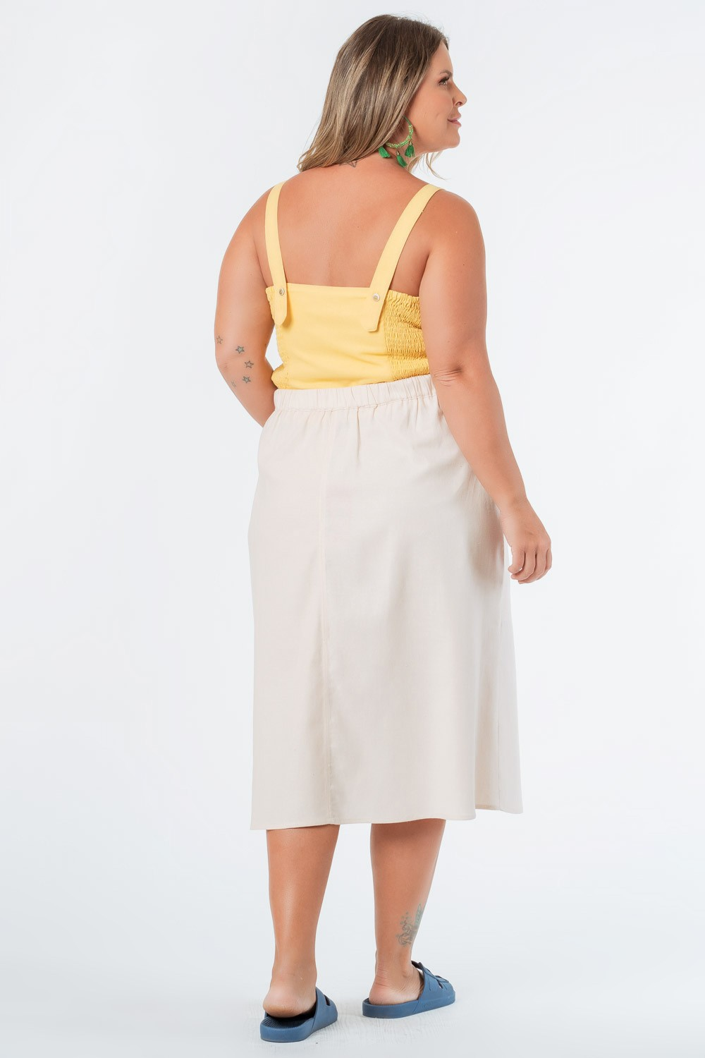 SAIA MIDI LISA LINHO PLUS SIZE OFF WHITE