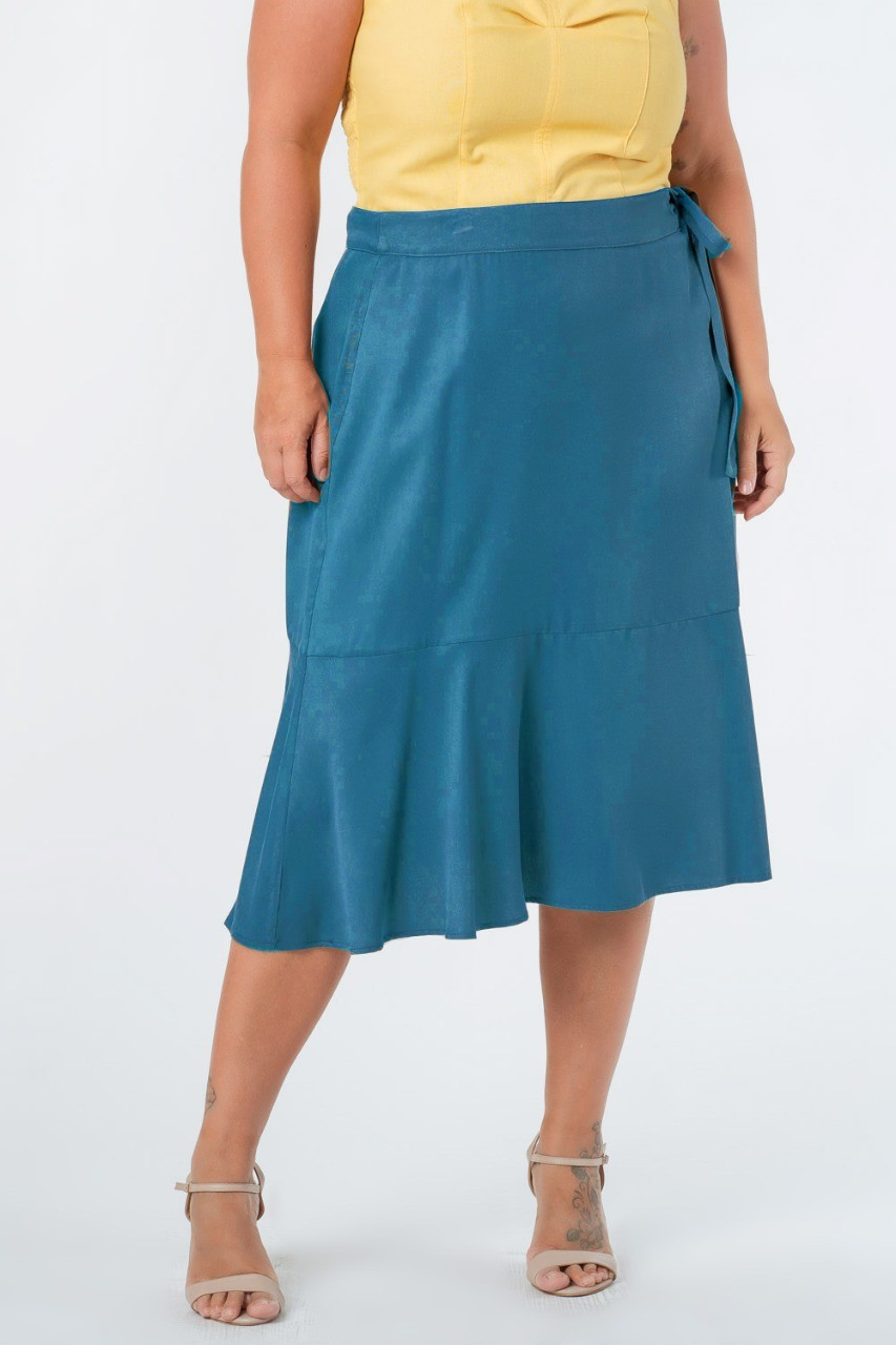 SAIA MIDI LISA TWILL PLUS SIZE AZUL