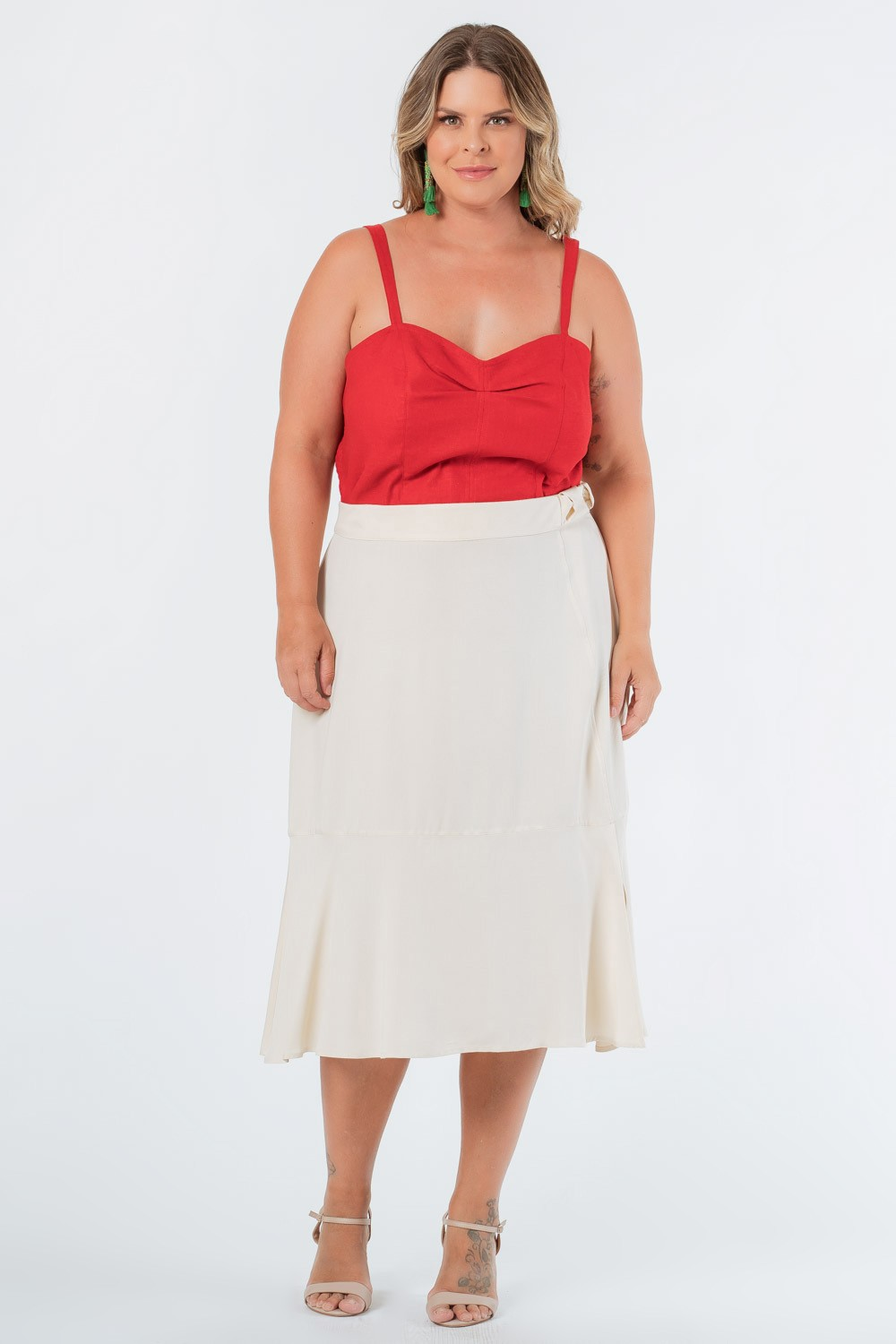 SAIA MIDI LISA TWILL PLUS SIZE OFF WHITE