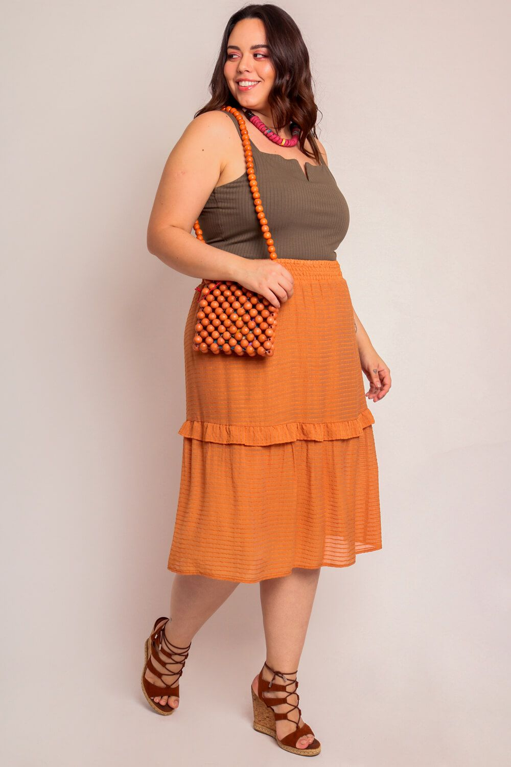 SAIA PLUS SIZE MIDI TERRACOTA