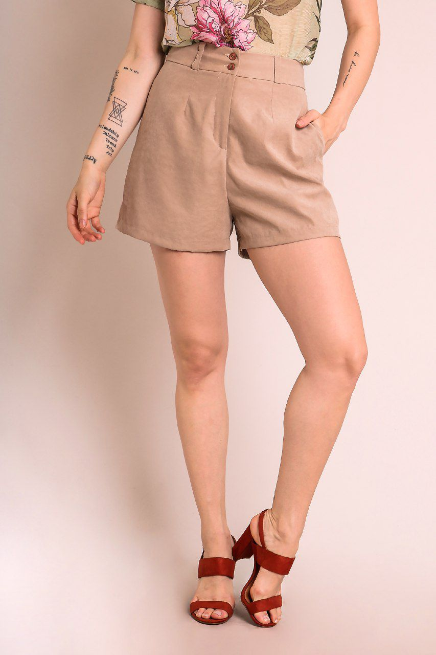 SHORTS LISO BEGE