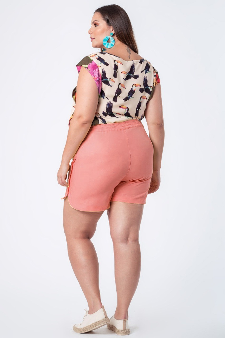SHORTS LISO LINHO PLUS SIZE CORAL