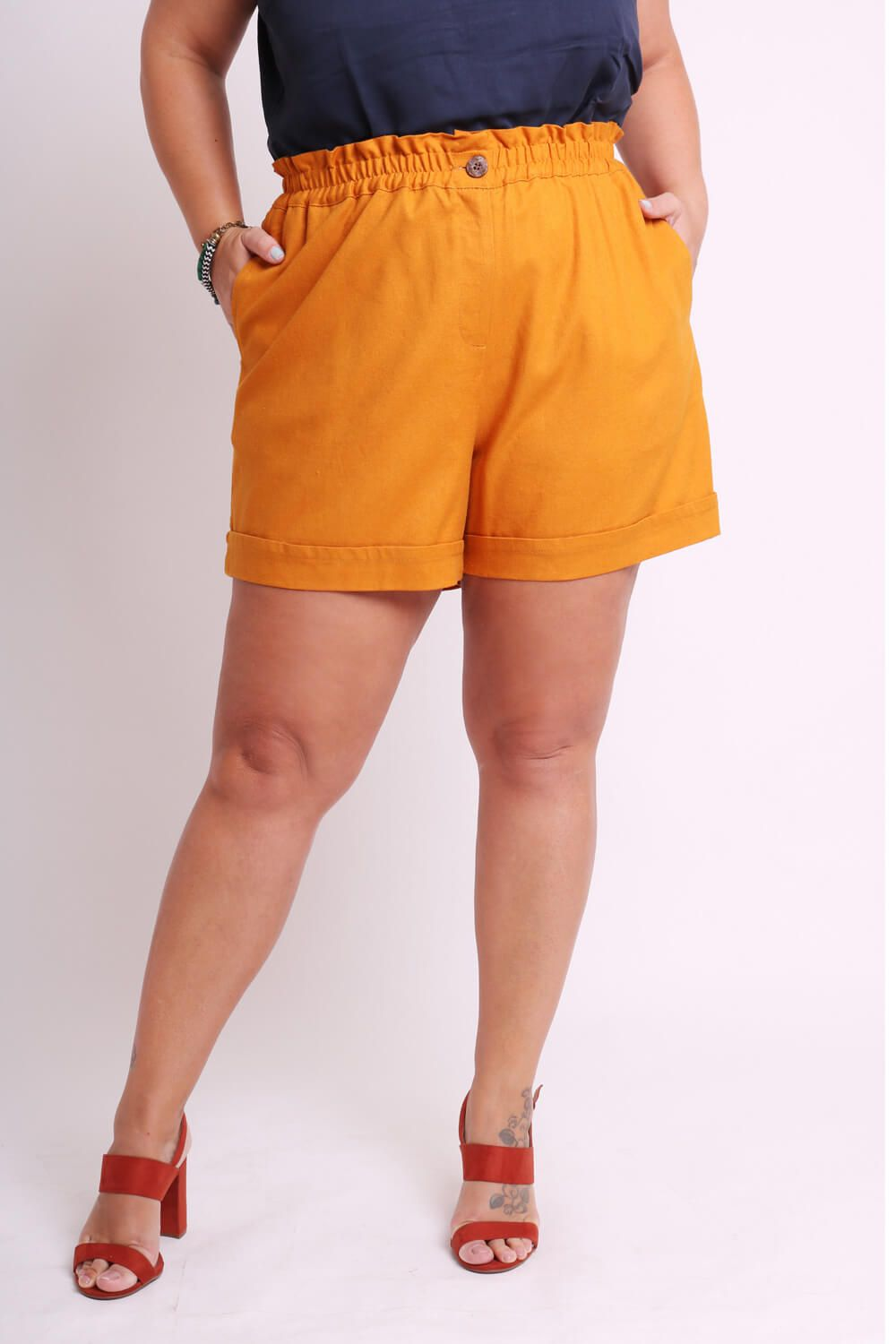 SHORTS PLUS SIZE LISO TERRACOTA