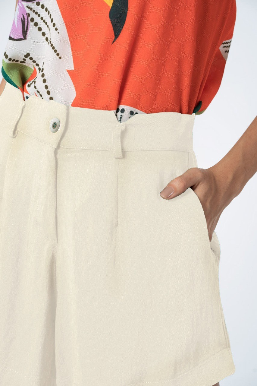 SHORTS LISO TWILL OFF WHITE