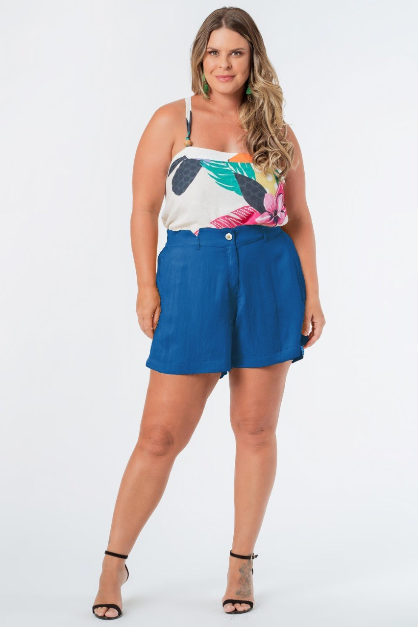 SHORTS LISO TWILL PLUS SIZE AZUL