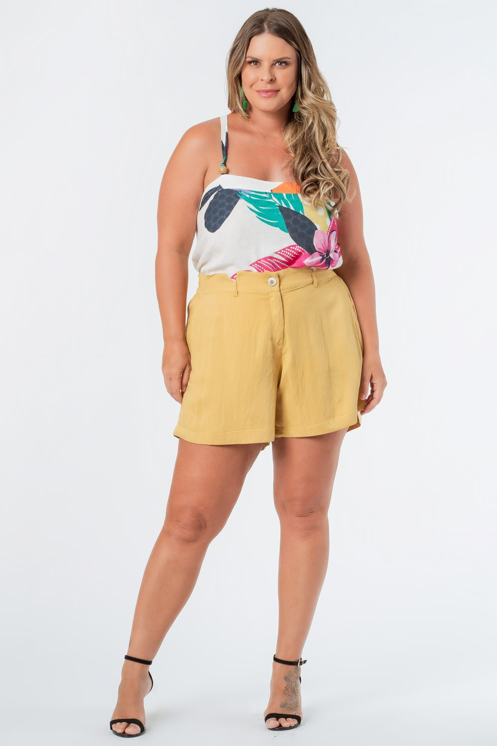 SHORTS LISO TWILL PLUS SIZE BEGE