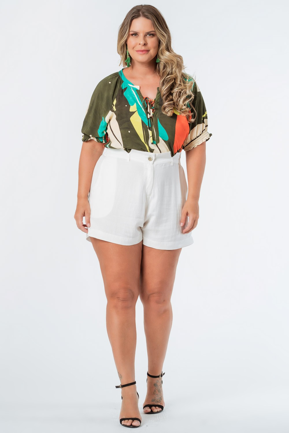 SHORTS LISO TWILL PLUS SIZE OFF WHITE