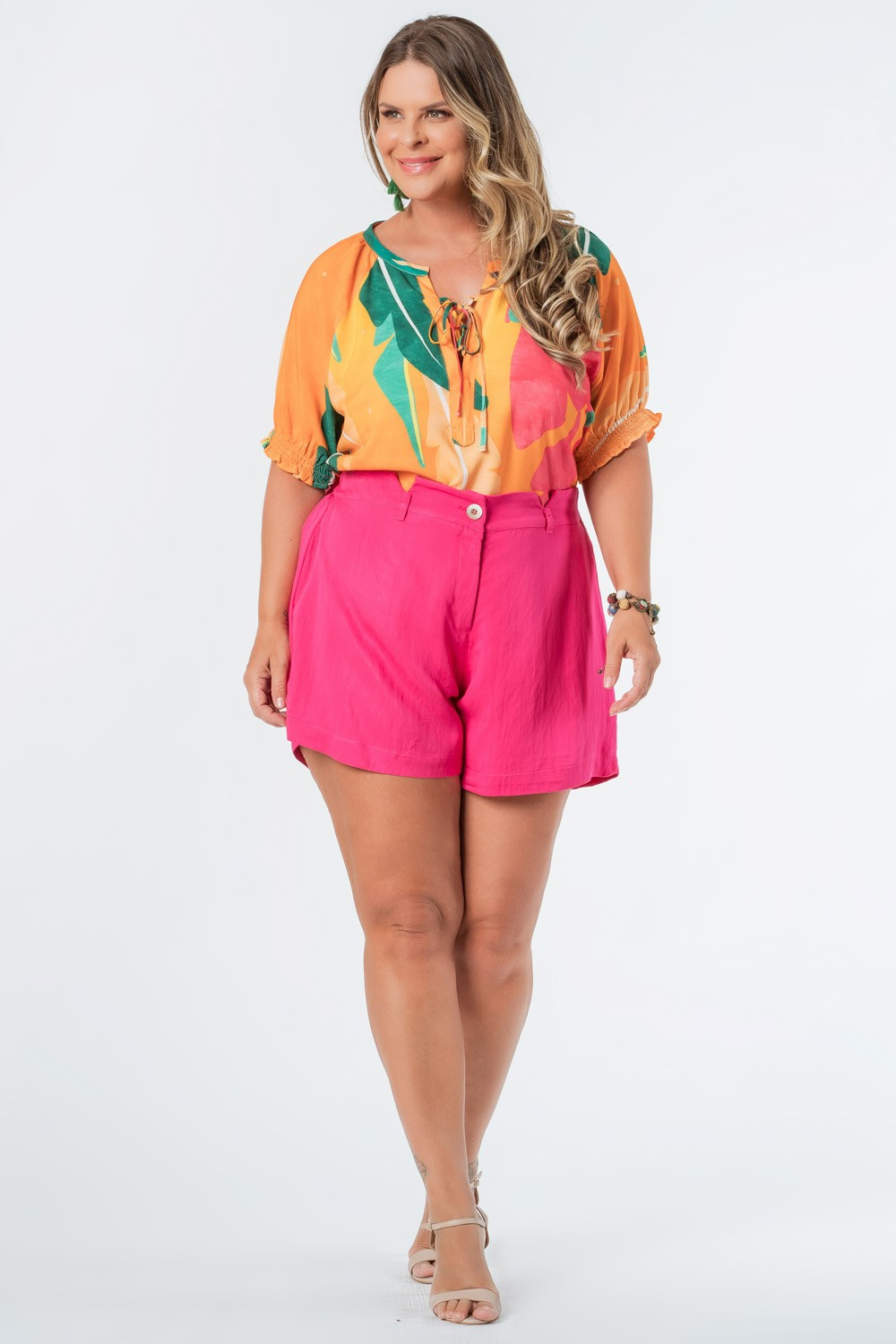 SHORTS LISO TWILL PLUS SIZE PINK