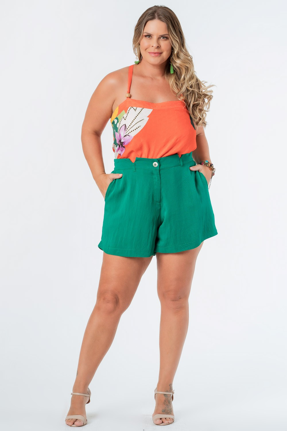SHORTS LISO TWILL PLUS SIZE VERDE